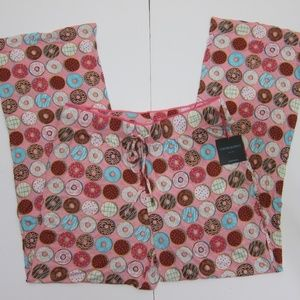 Cynthia Rowley Pajama Bottoms M Doughnuts Pink NEW